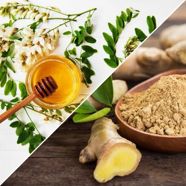 photo of ginger and jar of honey representing honey ginger white balsamic vinegar