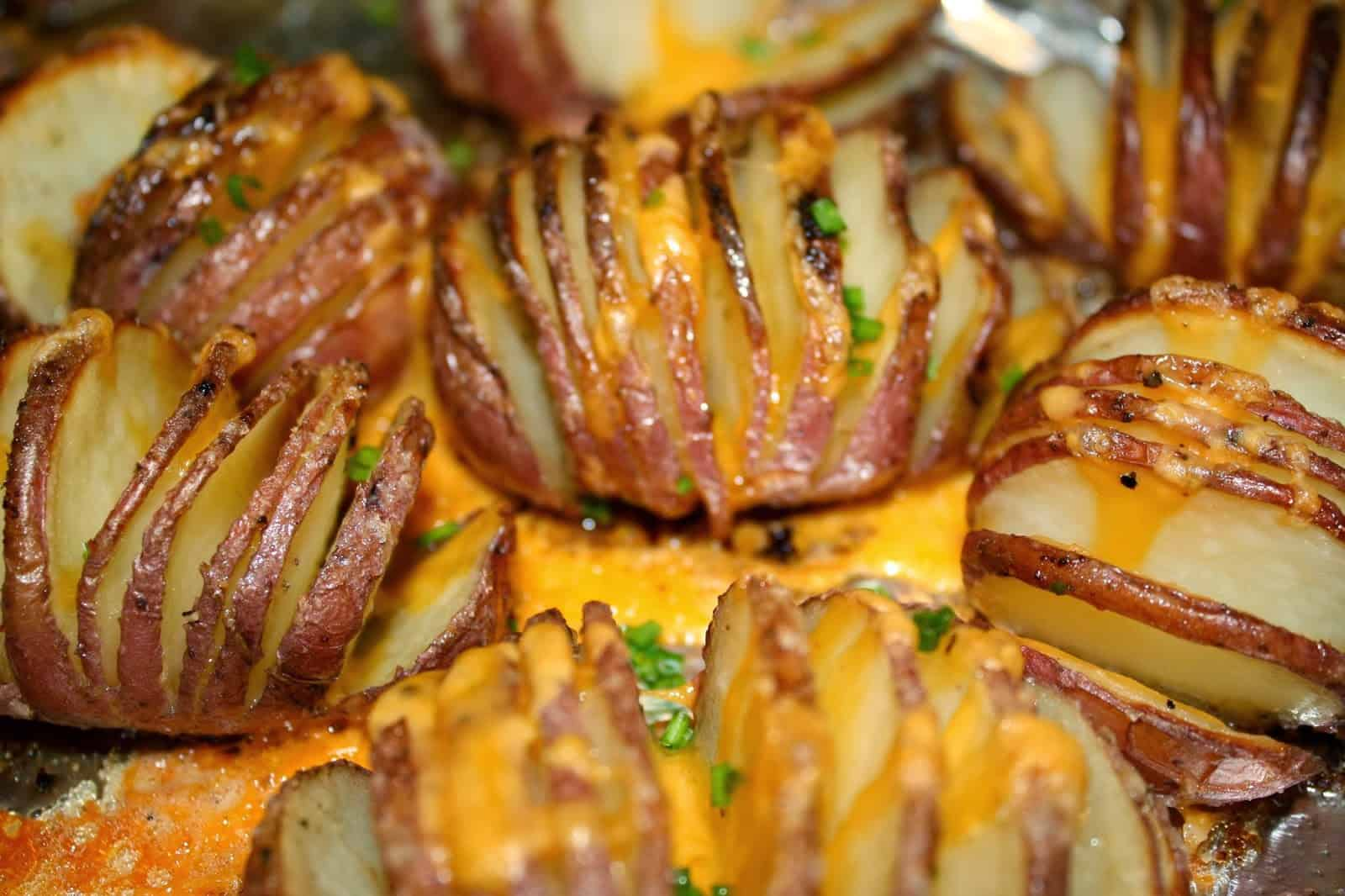 Roasted Hasselback Potatoes With Garlic Infused Olive Oil