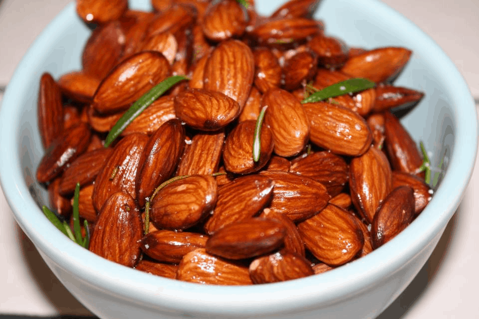 Almonds Slow Roasted in Garlic Olive Oil with Fresh Rosemary