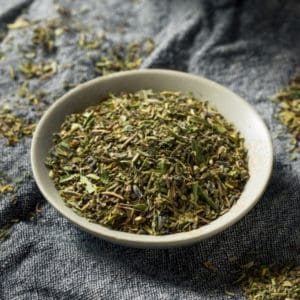photo of mixed herbs in bowl representing herbes de provence olive oil