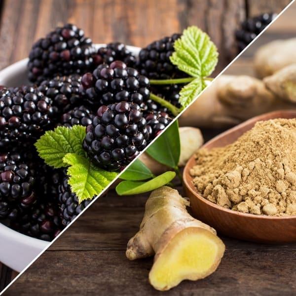 photo of blackberries and ginger representing blackberry ginger balsamic vinegar
