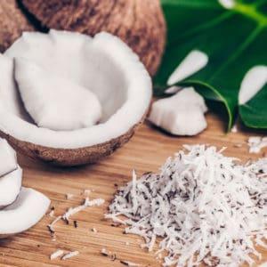 photo of coconuts and coconut shavings representing coconut white balsamic vinegar