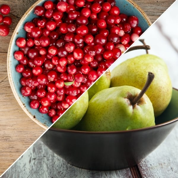 photo of bowl of cranberries and bowl of pears representing cranberry pear white balsamic vinegar