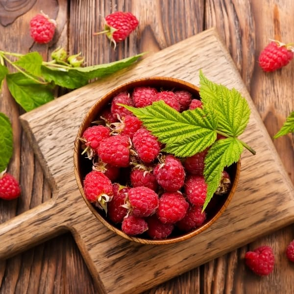 photo of raspberries in bowl representing raspberry balsamic vinegar