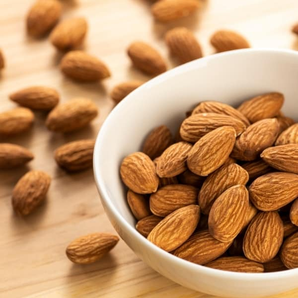 photo of almonds in bowl representing almond oil
