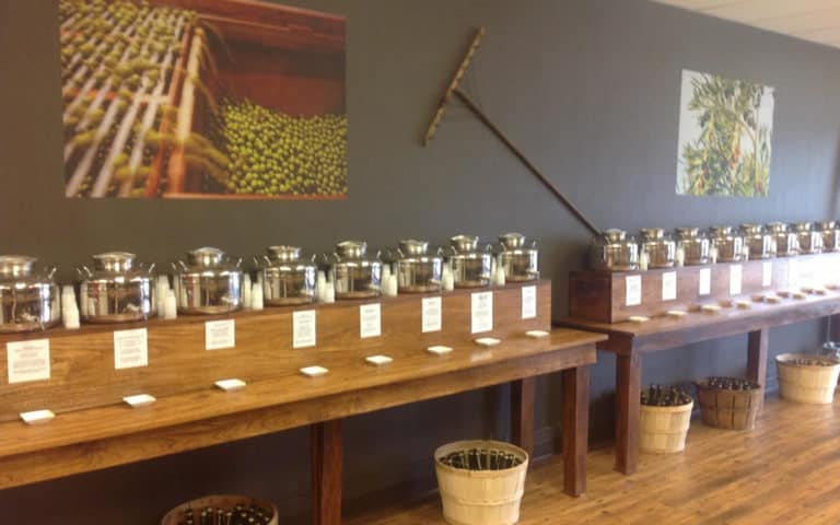 olive oil dispensers in OV Harvest store