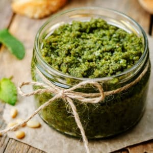 photo of jar of pesto representing Spicy Calabrian Pesto Olive Oil