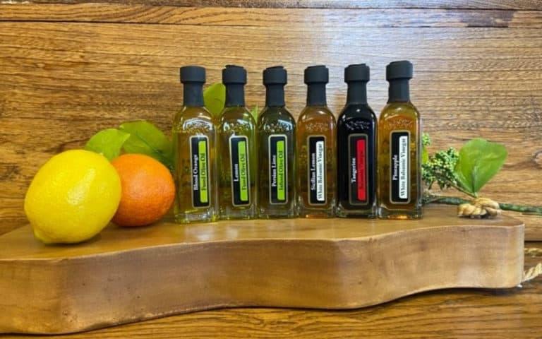 OV Harvest citrus sampler on wood background