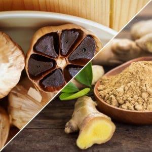 Image of black garlic and ginger representing OV Harvest Ginger & Black Garlic Olive Oil