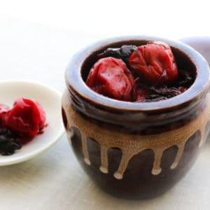Image of Umeboshi Plums in jar representing OV Harvest Umeboshi Plum White Balsamic Vinegar